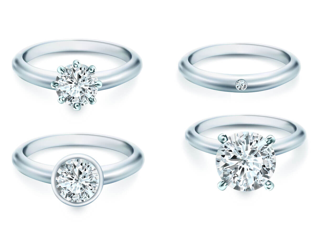 Diamanten in verschiedenen Formen und Fassungen