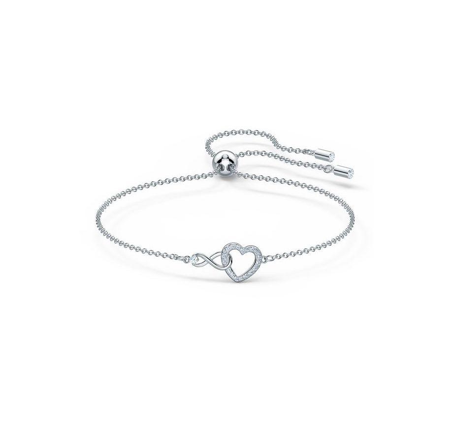 """Swarovski """"Infinity"""" Armband mit Herz, Weiß, Rhodiniert 5524421"""