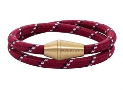 PAUL HEWITT CONIC WRAP Armband Messing Nylon Rot Schwarz Weiß